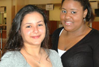 (L) GIS interns Kathy Gonzalez and Shenea Whittaker are enjoying their administrative responsibilities.