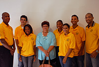 L-r: Roje Williams, Manuel Gonzalez, Adeline Sulley, National Chairman Ms Katherine Jackson, Cert. Hon , Allison McDonald, Samantha Mascarenhas, Jose Ardila and David Mitchell. Missing from the photo: Mia Burke