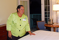 Premier Hon. Juliana O'Connor-Connolly, JP, views a newly refurbished room at the Westin Resort.