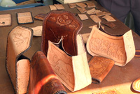 Some of the leather work that prison inmates are learning to craft.