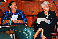 L-r: Premier Hon. Juliana O'Connor Connolly, JP, and Speaker Hon. Mary Lawrence, MBE, JP, listen to Youth Parliament proceedings, organised by the local branch of the Commonwealth Parliamentary Association at the Legislative Association on Monday, 11 March 2013.
